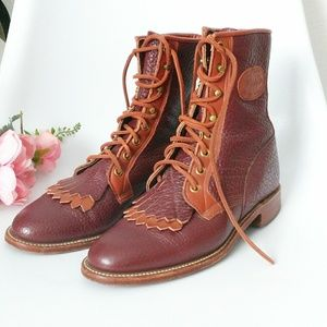 90s Vintage Justin Western Lace Up Leather Boots 6